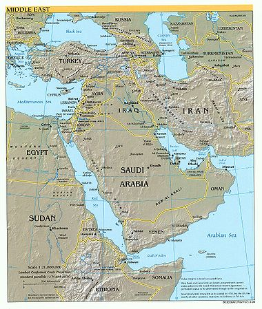 Orta doğu ülkelerinin fiziki haritası