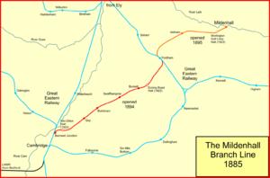 Cambridge to Mildenhall railway - The Cambridge to Mildenhall line in 1895