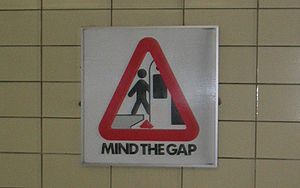 """Mind the gap"" sign at a Toronto sub..."