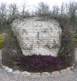 Potato Germans - Memorial stone for German immigrants that came to Denmark in 1759, the socalled Potato Germans. Frederiks churchyard SW of Viborg, Denmark.