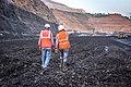 Miner Walking on Coal face in NCL Krishnashila Mine.jpg