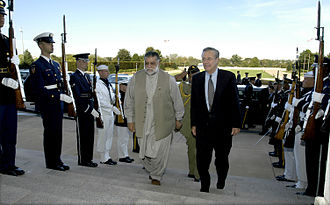 Zafarullah Khan Jamali - Prime Minister Jamali with Secretary of Defense Donald Rumsfeld at the Pentagon