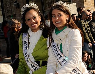 Miss New Jersey USA - Chenoa Greene, Miss New Jersey USA 2010 and Erica Szymanski, Miss New Jersey Teen USA 2010 appearing in a St. Patrick's Day parade