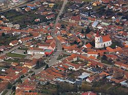 Aerial view of the center of the town