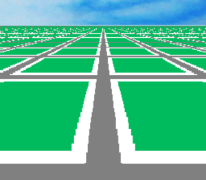 Mode 7 - Screenshot of a basic Super NES demo using this graphical effect