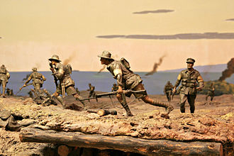 Physical model - Model of a war scene — Australian War Memorial, Canberra.