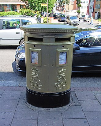 Mo Farah - The post box on London Road, Isleworth, painted in honour of Farah as part of a scheme to celebrate Britain's 2012 Olympic gold medal winners