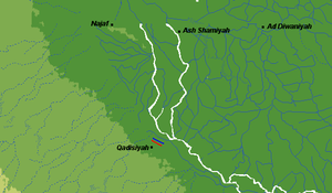 Battle of al-Qādisiyyah - The site of the Battle of Qadisiyyah, showing Muslim army (in red) and Sassanid army (in blue)
