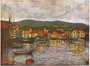 Molde - Illustration of Molde, painting by Nico Wilhelm Jungmann, 1904