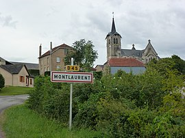 Mont-Laurent (Ardennes) city limit sign and church.JPG
