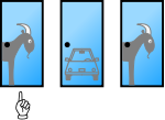 Player has picked Door 1 and the car is behind Door 2