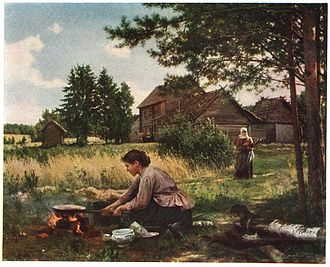 Frying - A painting by the Russian artist A. I. Morozov showing frying in the open air