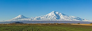 Mount Ararat - View from the Araratian plain near the city of Artashat, Armenia.
