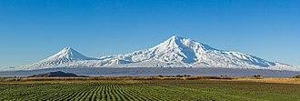 Plain - Mount Ararat in the Caucasus, with the Ararat plain in foreground.