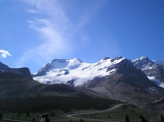 Mount Athabasca - Mount Athabasca (left centre) and Mount Andromeda (far right)