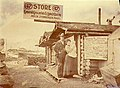 Mr and Mrs William Steinberger at their store and lunch house on Bonanza Creek, Yukon Territory, ca 1900 (MEED 99).jpg