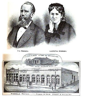 Francis Lyman Worden - Frank and Lucretia Worden and store, Missoula ca 1885