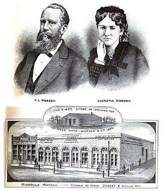 Francis Lyman Worden - Frank and Lucretia Worden and store, Missoula ca 1885