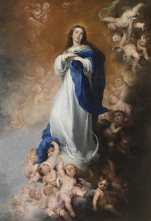 Immaculate Conception - La Purísima Inmaculada Concepción by Bartolomé Esteban Murillo, 1678, now in Museo del Prado, Spain.