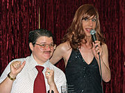 New York City drag king Murray Hill with drag queen Linda Simpson.