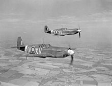 Mustang I aircraft of No.2 Squadron RAF in flight
