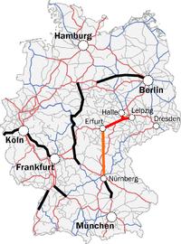 karte der ice-neubaustrecke berlin-nürnberg Erfurt–Leipzig/Halle high speed railway   Wikipedia