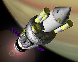 Peaceful nuclear explosion - An artist's conception of the NASA reference design for the Project Orion spacecraft powered by nuclear pulse propulsion.