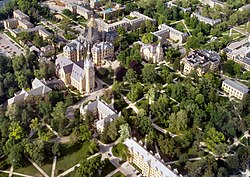 An aerial view of the University of Notre Dame's center campus.
