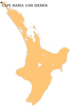 Cape Maria van Diemen - Location of Cape Maria van Diemen
