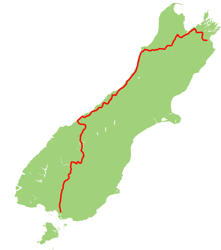Map showing the route of State Highway 6 NZ-SH6 map.png