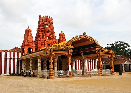 The popular Nallur Kandaswamy Kovil in Jaffna, destroyed in the late 15th century by the Portuguese and rebuilt in 1750 was targeted by Navalar as built not according to Agamic requirements Nallur Kandasamy front entrance.jpg