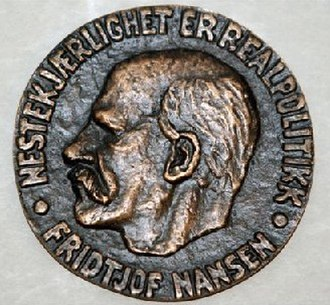 """Nansen Refugee Award - The Nansen Refugee Award is given annually by the United Nations High Commissioner for Refugees in recognition of outstanding service to the cause of refugees. The top of the Nansen Medal reads: """"Nestekjærlighet er realpolitikk"""" (English: Altruism is Practical Politics (Realpolitik))"""