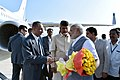Narendra Modi being seen off by the Governor of Andhra Pradesh and Telangana, Shri E.S.L. Narasimhan and the Chief Minister of Andhra Pradesh, Shri N. Chandrababu Naidu, on his departure from Tirupati, Andhra Pradesh.jpg