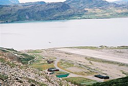 Narsarsuaq airport from signal hill - aircraft on approach.jpg