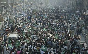 Pakistan Muslim League (N) - A mass rally of PML(N) in Punjab in support of Nawaz Sharif.
