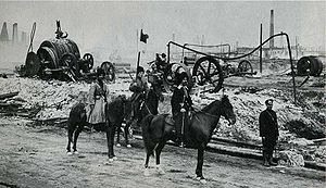 Armenian–Tatar massacres of 1905–07 - A Cossack military patrol near the Baku oilfields, ca. 1905.
