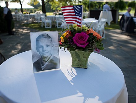 Photograph of Armstrong as a boy at his family memorial service in Indian Hill, Ohio, near Cincinnati, on August 31, 2012 Neil Armstrong family memorial service (201208310014HQ).jpg