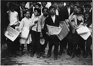 201b05c7 Newsboys and newsgirl. Getting afternoon papers. New York City. - NARA -  523329