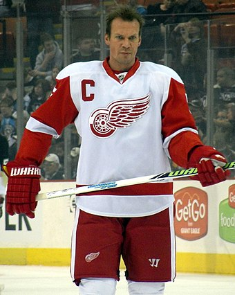 Nicklas Lidstrom during the 2009-10 season. Named captain in 2006, he maintained the position until his retirement in 2012. Nicklas Lidstrom 2010-01-31.JPG