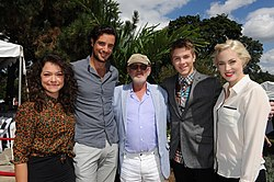 Norman Jewison and guests Tatiana Maslany, Charlie Carrick, Connor Jessup, Charlotte Sullivan at the CFC 2012 BBQ.jpg