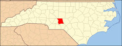 Map of Montgomery County, North Carolina, in which Emery is located