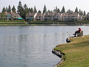 Woodbridge, Irvine, California -  The artificial North and South Woodbridge Lakes attract visitors with its shoreline pedestrian trails and opportunities for light water recreation.
