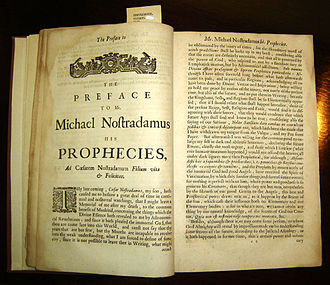 University of Texas Health Science Center at San Antonio - Copy of Garencières' 1672 English translation of the Propheties, located in The P.I. Nixon Medical History Library.