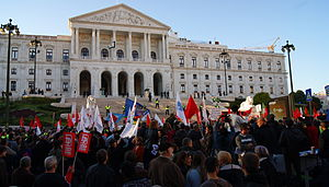 Economy of Portugal - November 2011, protests against austerity measures before the Portuguese Parliament in Lisbon.