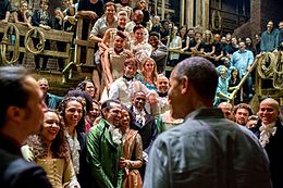 Obama greets the cast and crew of Hamilton musical, 2015.jpg