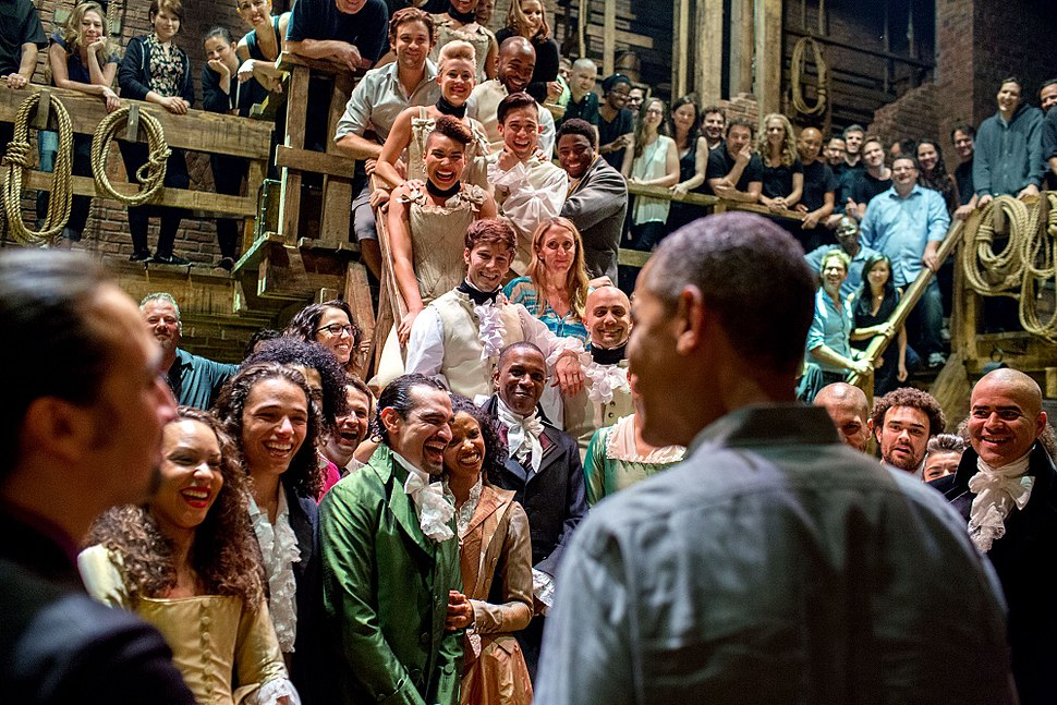 Obama greets the cast and crew of Hamilton musical, 2015