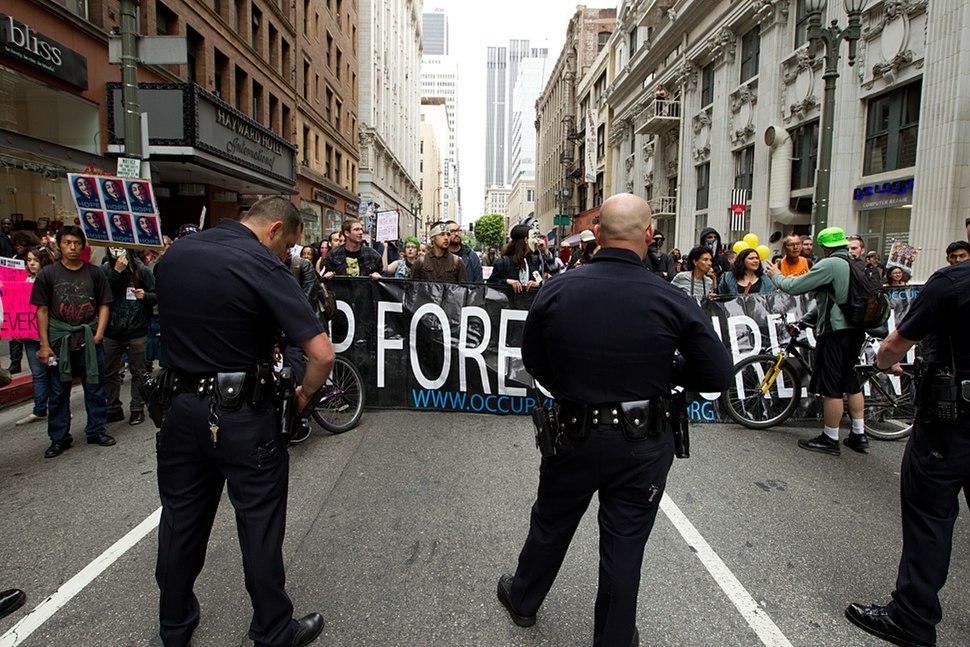 Occupy LA LAPD Line