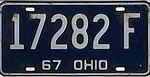 Ohio 1967 license plate - Number 17282 F.jpg