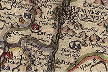 Map showing North Baddesley (Badley) dated 1607