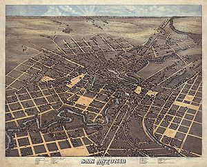 San Antonio, Texas in 1873. Bird's Eye View of...